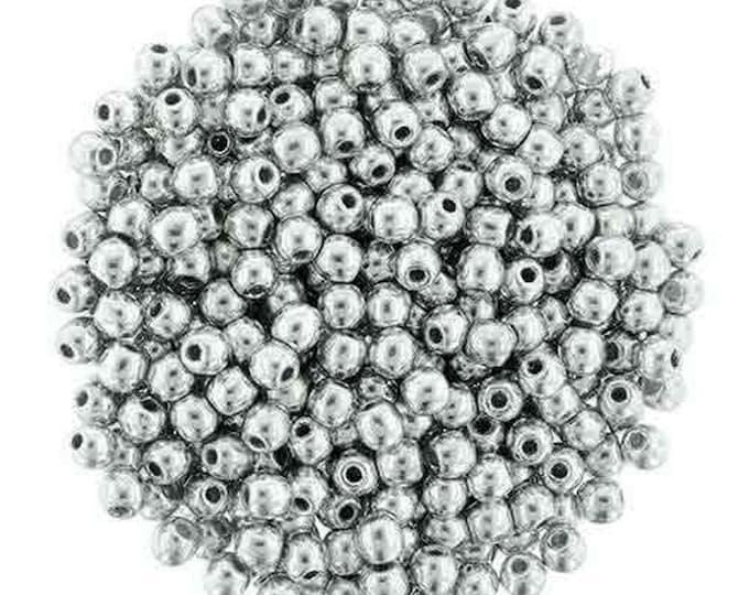 4mm Czech Smooth Round DRUK Beads Metallic Silver, 100 beads