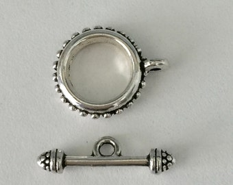 TOGGLE CLASP BALI Style, Silver Pewter 17x22mm