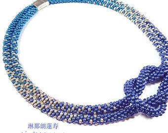 SUPPLY KIT MAXI True Blue Love Knot  Tri-Color Ombre Necklace.