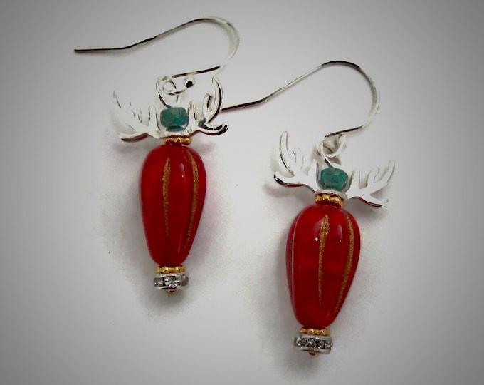 Reindeer Earrings, Sterling Silver Antlers, Czech Teardrop