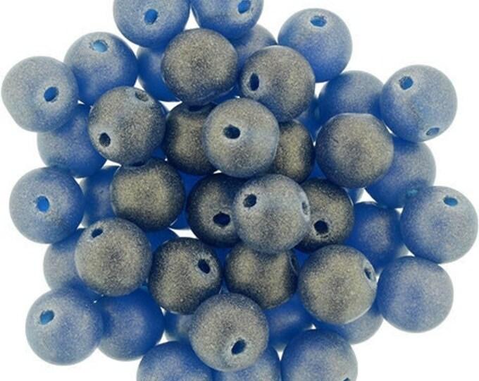 4mm Sueded Gold Capri Blue Druk Bead - Czech Glass, Smooth Round Bead -100 Beads