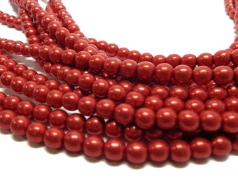 6MM, CRANBERRY,  Round Czech Glass Pearls, Color Trends: Saturated Metallic Metallic,  75 Pearls/Strand