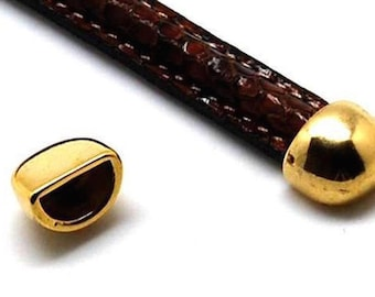 GOLD END CAPS to use with Wire Cores in Leather or Kumihimo Bracelets  Zamak, 10x7  Love Knot Cuff Bracelet 10x7 Set of 2