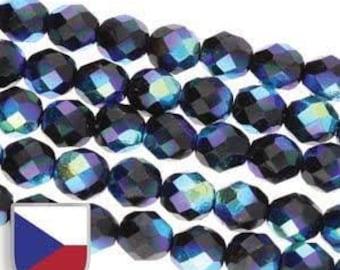 4MM Fire Polished Czech Glass Beads, Jet Full AB, Czech Shield Rainbow- Aurora Borealis,  Glass Bead Strand of 40 beads