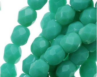 4MM Fire Polished Czech Glass Beads  Round Green Turquoise 37 Beads per strand