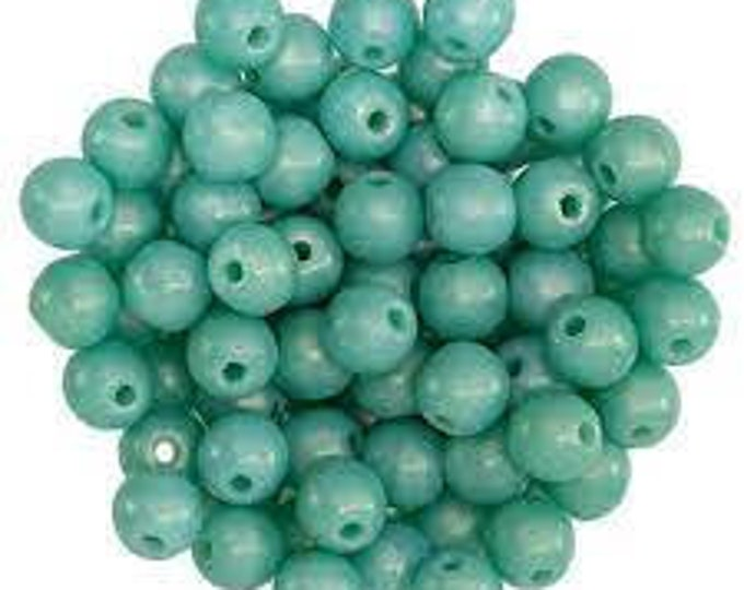 4mm Sueded Gold Turquoise  Druk Bead - Czech Glass, Smooth Round Bead -100 Beads