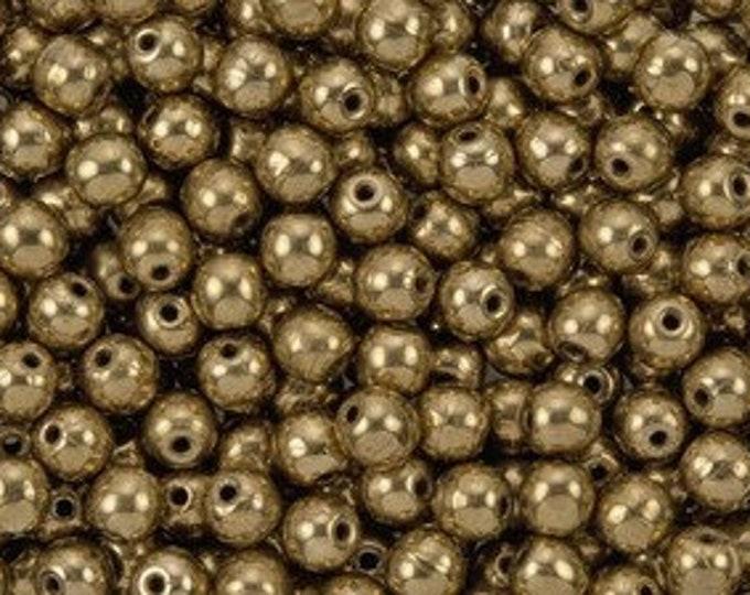3MM Metallic Bronze, Smooth Round Druk Beads. 100 beads
