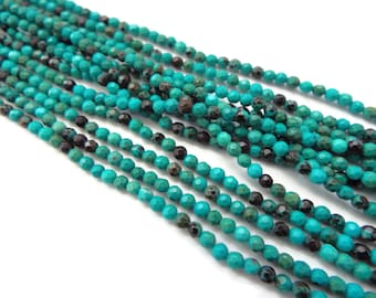"""3mm Faceted Green Turquoise Rounds AAA Quality. 15"""" Strand"""