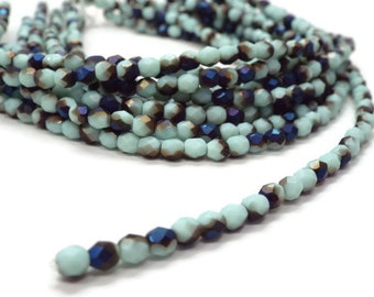 4MM Fire Polished Czech Glass Beads MIDNIGHT / TURQUOISE IRIS Strand of 50