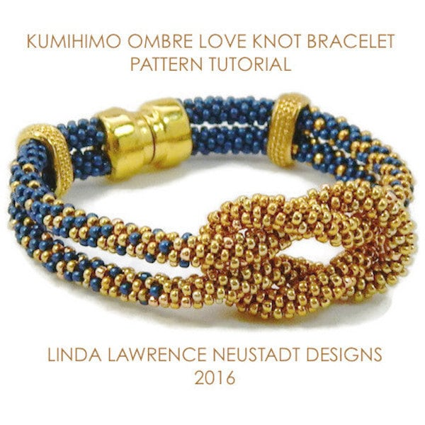 746b1993ead2 PATTERN KUMIHIMO BRACELET Tutorial Two Color Ombre Love Knot