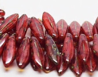 2 Hole Dagger Beads, 5mmX16mm Coral Agate Picasso - 25 Beads