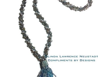 LABRADORITE and PEARL Kumihimo Tassel Necklace Lariat