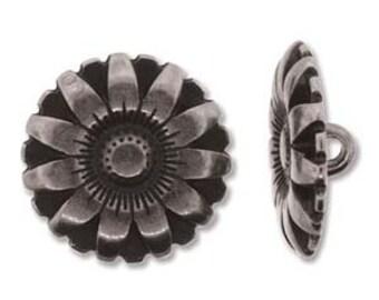 BUTTON FLOWER  Set of 2,  17mm Antique Silver, Antique Copper, Antique Gold