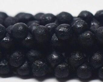 Mini 4mm Mushroom, Button, Teardrop, Etched BLACK 50 beads per strand
