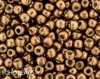 11/0, Toho, PF593, Metallic Copper Rose, PermaFinish, 20 Grams