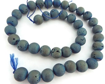 """Druzy Dyed Agate, Denim Blue,  Round Beads  8 or 10 mm, AAA Quality. 15"""" Strand"""