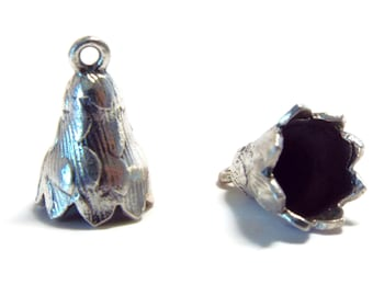 8mm CONE, End Cap, Sterling Silver  per PAIR