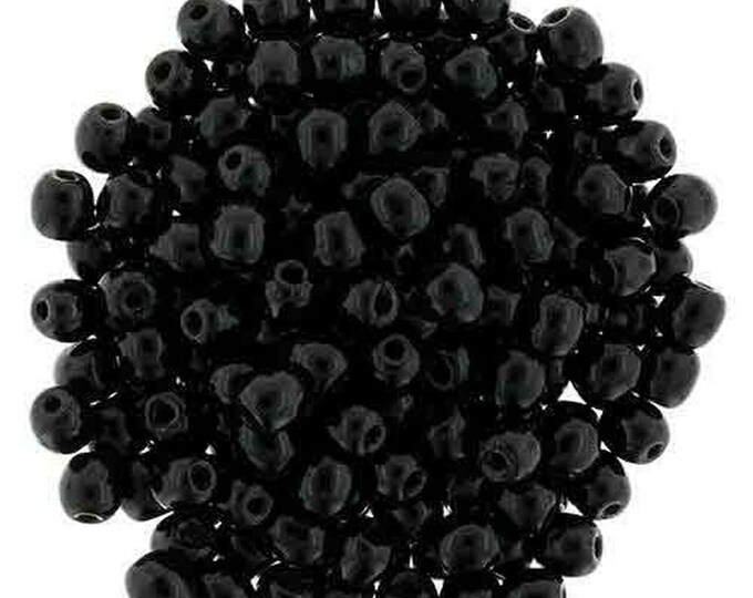 4MM JET BLACK Druk, 4mm Smooth Round Beads. 100 beads