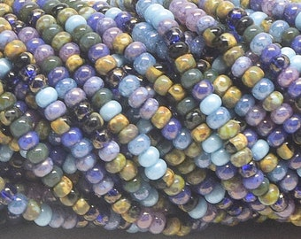 """8/0 Aged Stripped Picasso Mix, KILLER FROST, Czech Seed Beads, One 20"""" Strand"""