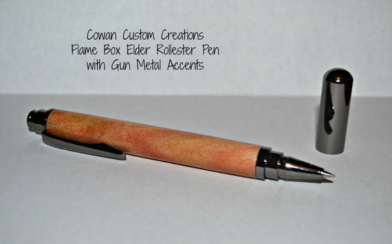 Faux Mother of Pearl and Flame Box Elder Rollerball Pen