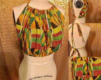 Kente print african ankara drawstring halter crop top
