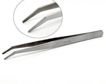 Pack of 3 x Bent Fine Point Tweezers ~ 125mm ~ Craft Jewellery Beading Tool