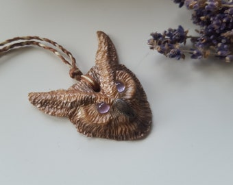 wise owl amethyst necklace