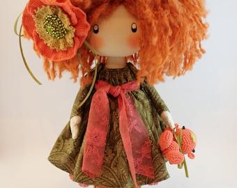 Doll Ivi redhead textile doll, cloth doll orange and green