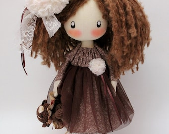 "Girls Gift 13"" Ragdoll Handmade Cloth Doll Kids Room Decor Interior Dolls Dolls Handmade Textile Cute Doll Lily MADE TO ORDER"