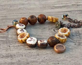 Boho rustic earthy woodland bracelet knotted ceramic gemstone Czech glass lampwork- Grubbi- WinterBirdStudio