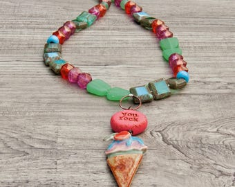 Necklace knotted whimsical colorful Czech glass ceramic ice cream cone- Majoyoal- Swoondimples