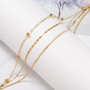 snake chain Dainty 3 Chain Layer one Clasp Luminous Anklet or Single set of 3 Gold  multilayer oval chain bar chain with Gift Box