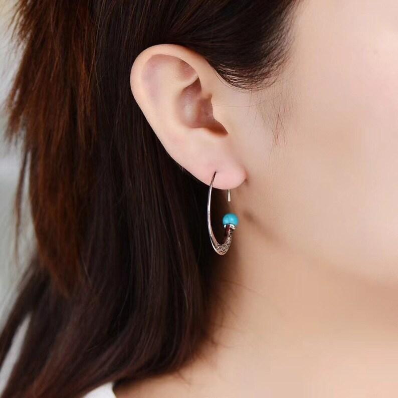 Sterling Silver Turquoise Moon Earrings