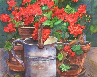 Watering Can with Geraniums