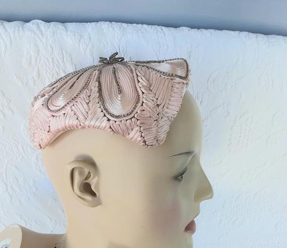 1950s Vintage Juliet Cap Hat Pink Soutache  Passem