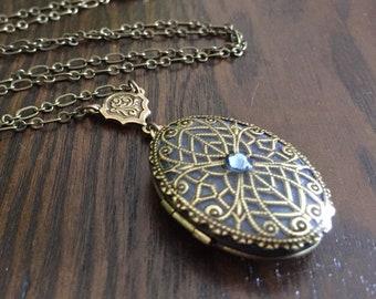 Blue Oval Locket Necklace, Brass Locket, Wedding Locket, Personalized Photo Gift