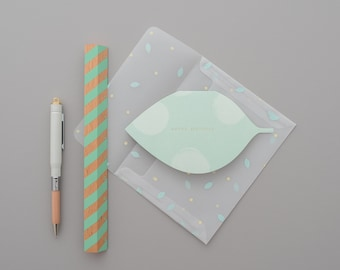 Happy Birthday Greeting Card With Transparent Envelope, Leaf Nature