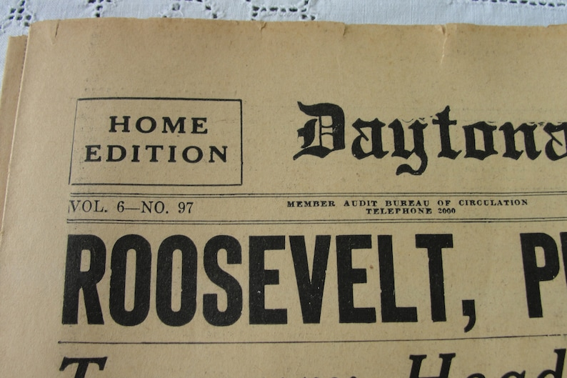 Vintage Newspaper, The Daytona Beach News Journal, Wednesday, April 6,  1932, Pages 1-2, 7 and 8