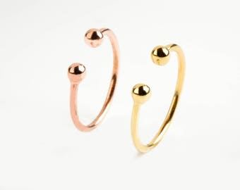 3c124d292 Double balls ring, Ball ring, Two balls ring, Solid gold band, Dainty ring,  14k solid gold ring, Ball band, 14k gold ring, Gold thin ring