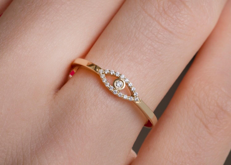 Diamond ring Minimal evil eye Diamond evil eye ring | Etsy