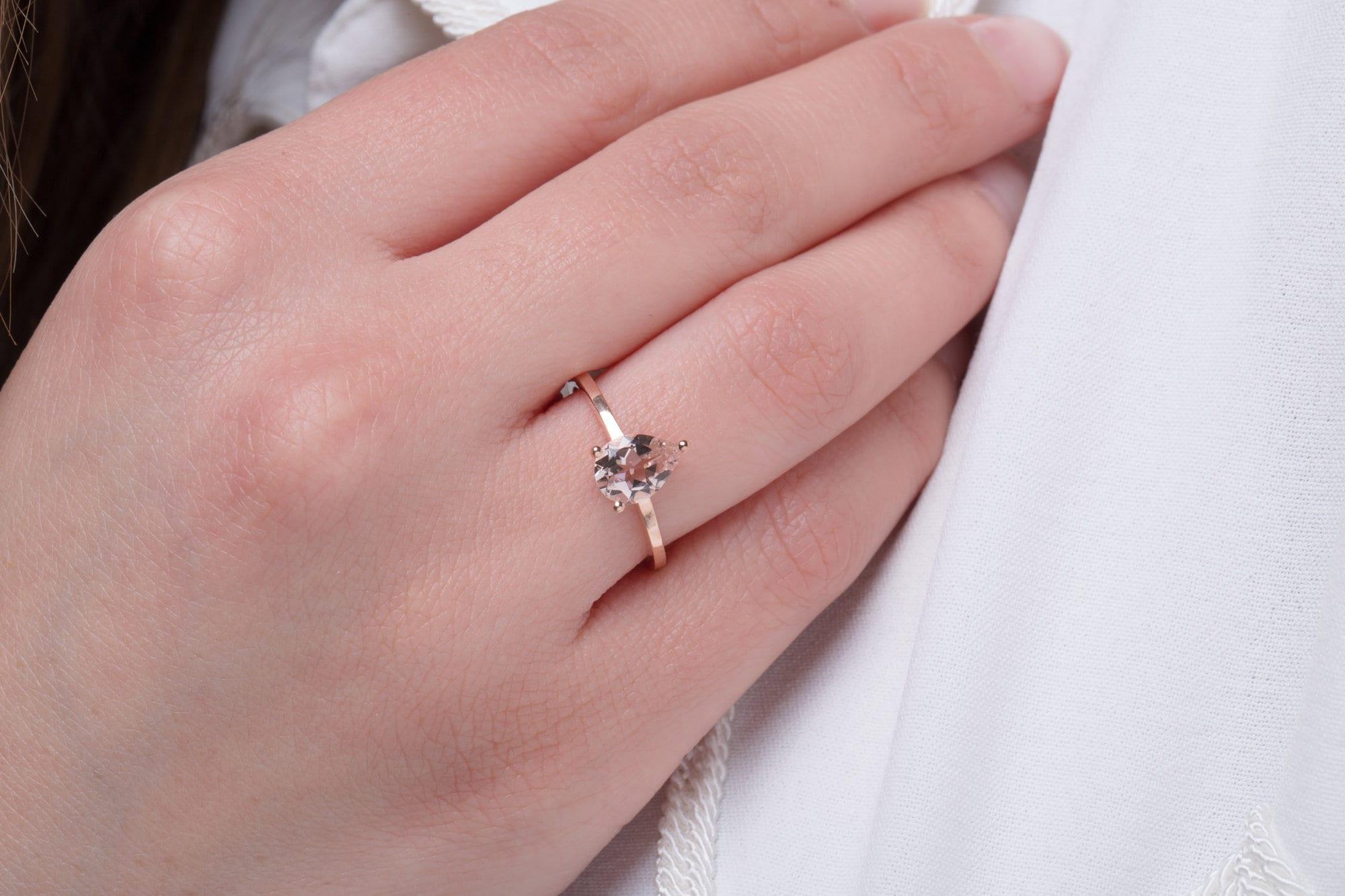 Morganite ring Gold pear ring Morganite pear ring Promise | Etsy