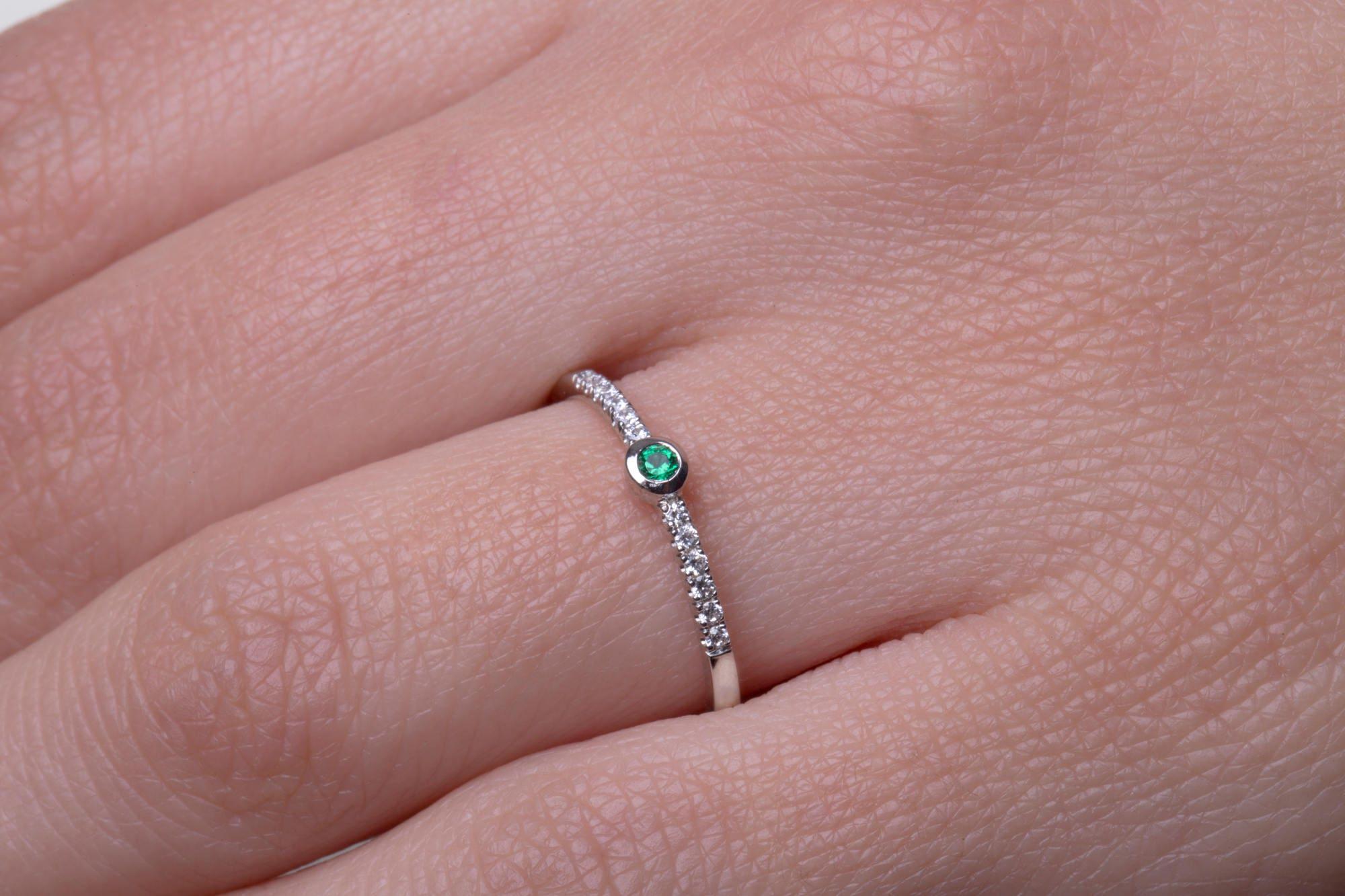 Emerald ring Dainty diamond ring Tiny solitaire ring Tiny