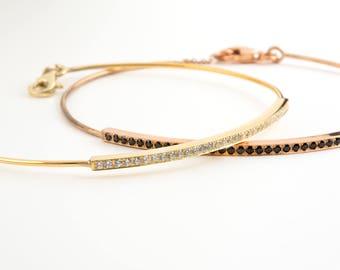 Diamond bar bracelet, Diamond bangle,  Dainty diamond bracelet, Black diamond bracelet,  Delicate bracelet, Bangle bar bracelet
