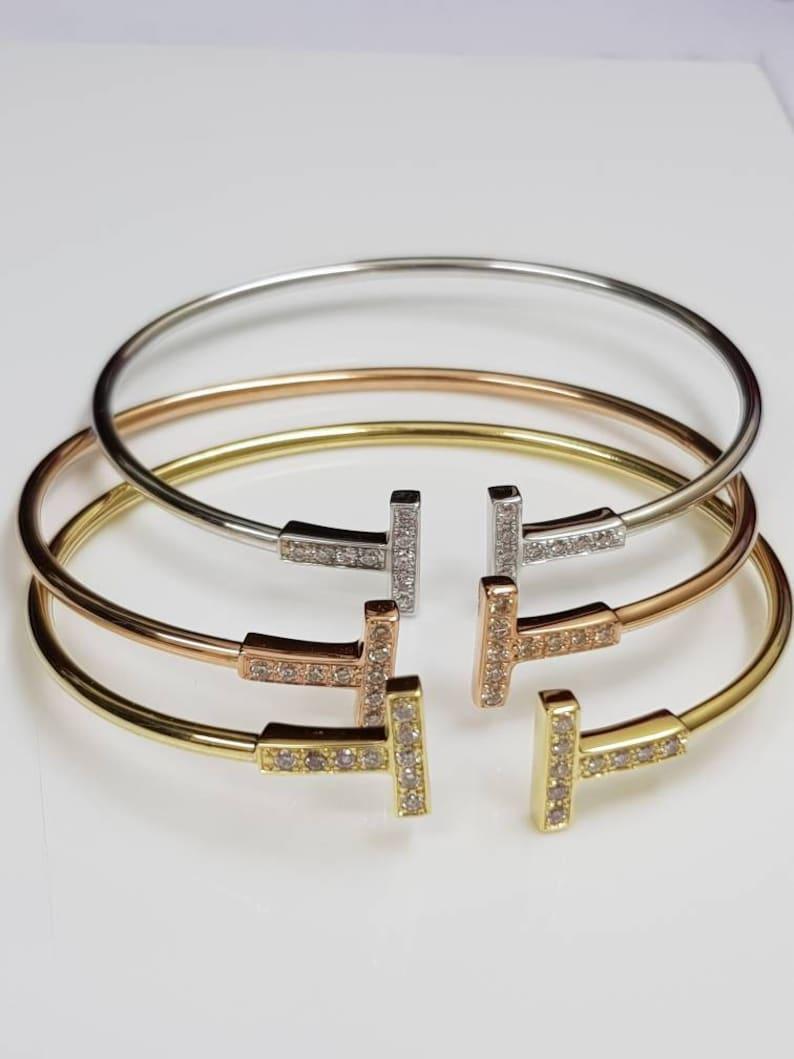 5e0a23394 Diamond bracelet Solid gold T bracelet Diamond T bracelet | Etsy