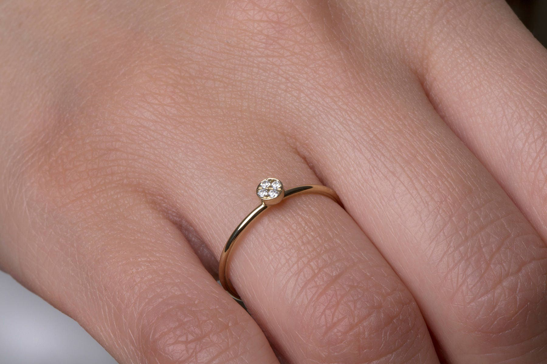 Diamond ring Diamond circle ring Ball ring Tiny ball ring