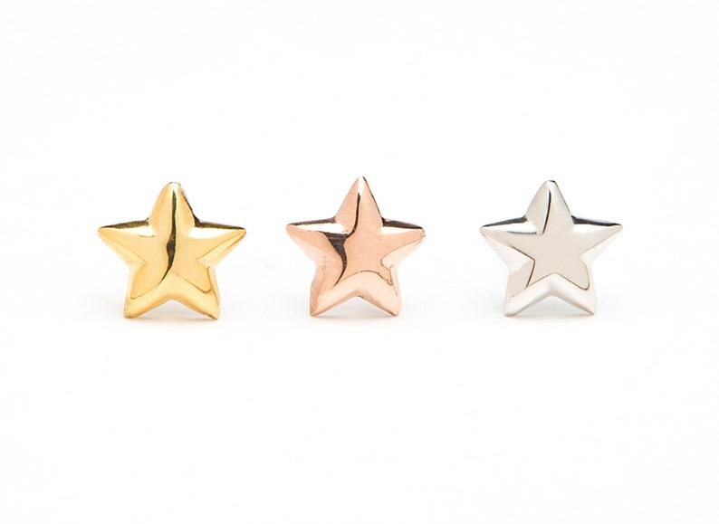 27e8ecf49 Gift Star stud earrings SOLID GOLD star studs Star   Etsy