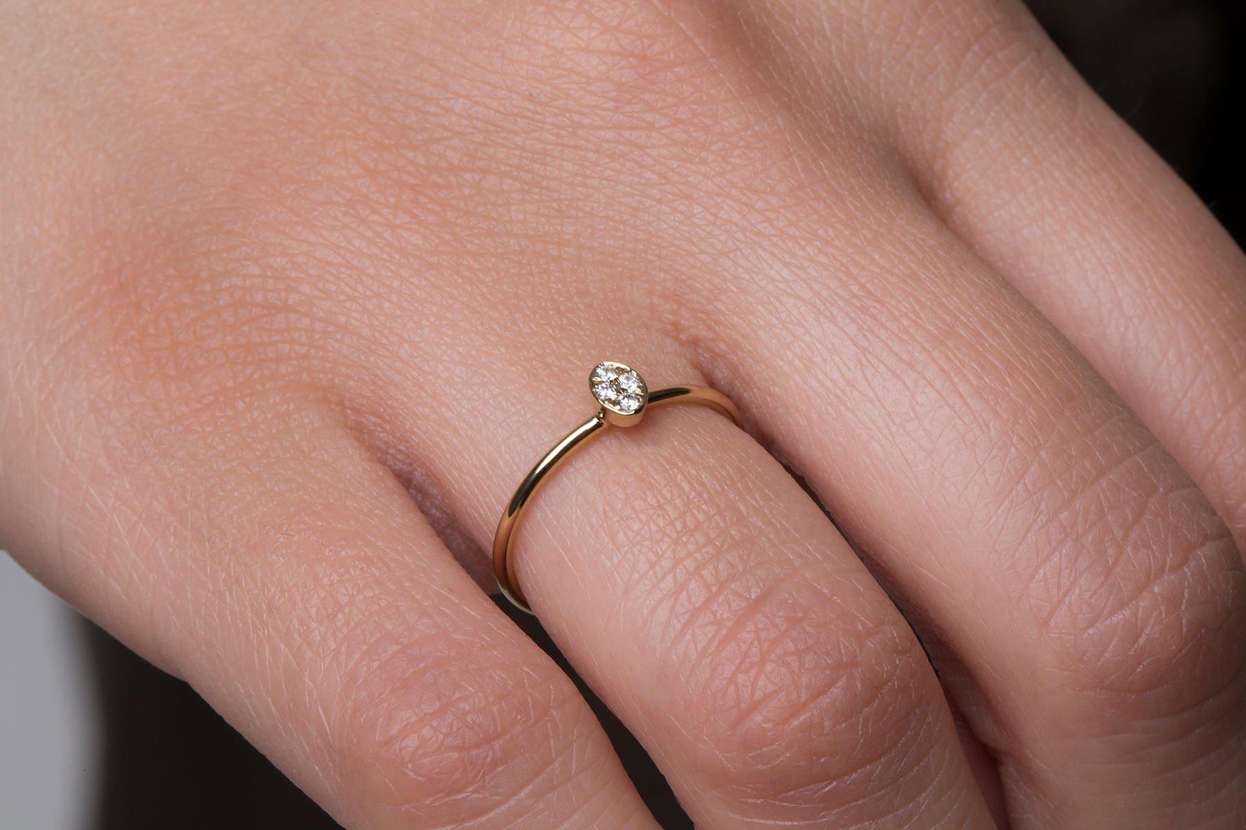 Diamond ring Diamond oval ring Oval ring Tiny oval ring | Etsy