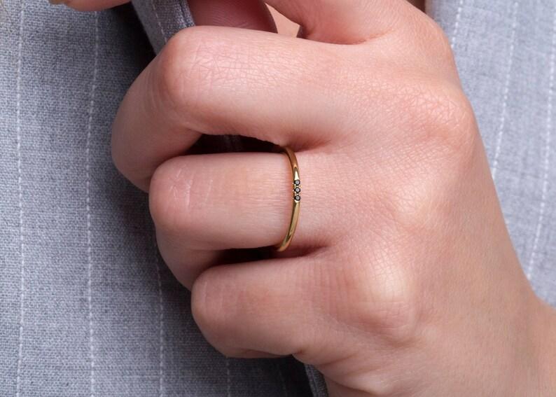 Extra thin ring with black diamonds 1.25mm Skinny ring Dainty ring with 3 black diamonds Diamond ring band Dainty black diamond ring