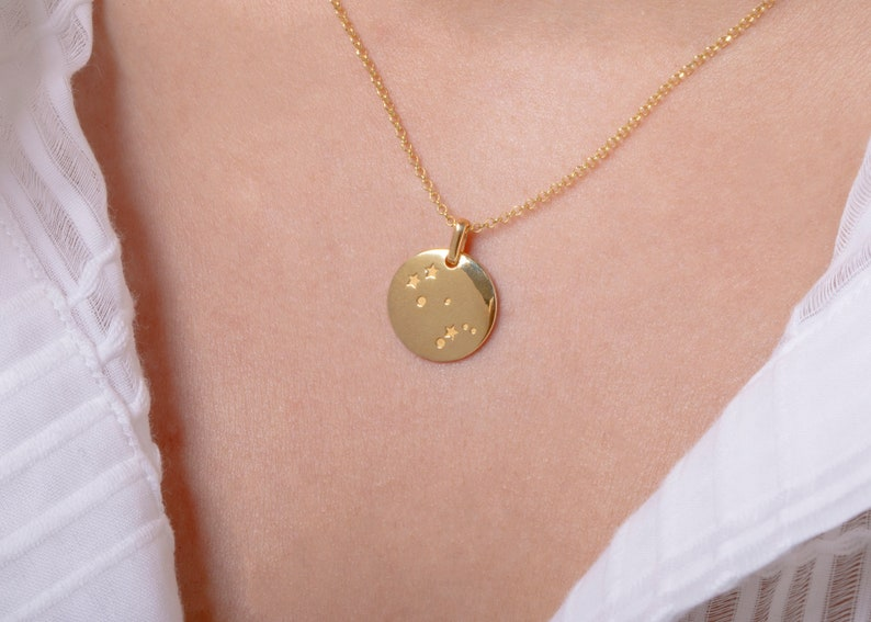 Constellation disc necklace, Solid gold constellations, Constellation  symbols, Rose gold zodiac, Birthday gift, Gold zodiac charms, Zodiac