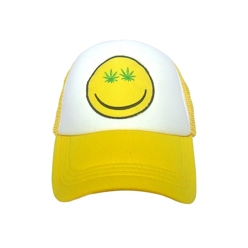 d642d83d20ff4 Happy Face Cannabis weed 420 yellow Trucker Cap